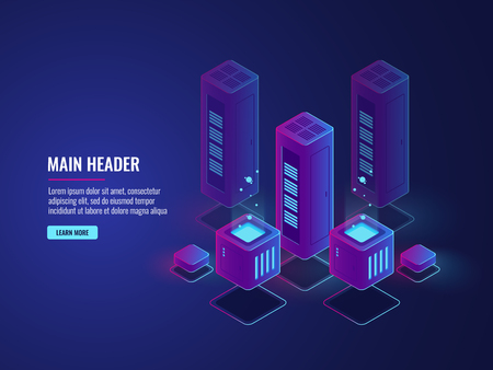isometric server room, web hosting services conceptual banner, data encryption and protection center