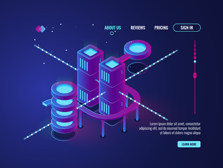 Smart city, server room isometric vector, data center database icon, networking and data processing concept big,data,cloud,storage,ultraviolet,dark,neon,