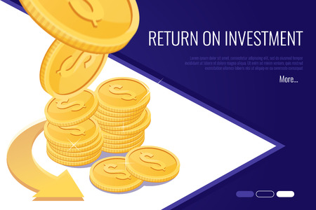 Concept of return on investment .Web header for financial business company.Flat style