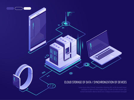 Concept of data network management .Vector isometric map with business networking servers, computers and devices.Cloud storage data and synchronization of devices