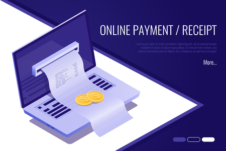 Concept of electronic bill and online bank, laptop with check tape. 3d isometric style Illustration