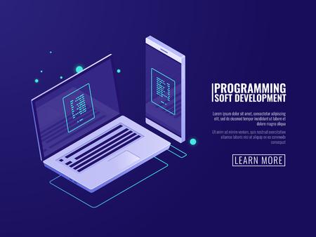 Programación y desarrollo de programas informáticos, aplicación móvil, laptop y teléfono móvil con código en pantalla vector isométrico