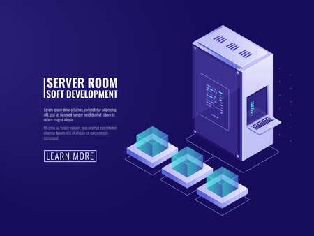 Design of information systems icon, web server, computer equipment, big data processing, Internet client, network connection isometric vector Illustration