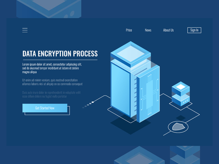 Data encryption process, protection digital information, server room, cloud storage isometric vector