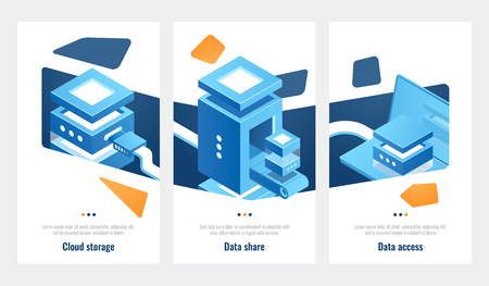 Set of banner for data storage access and processing, server room, datacenter isometric vector