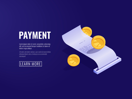 Payment receipt, payroll, electronic bill, online buying concept isometric