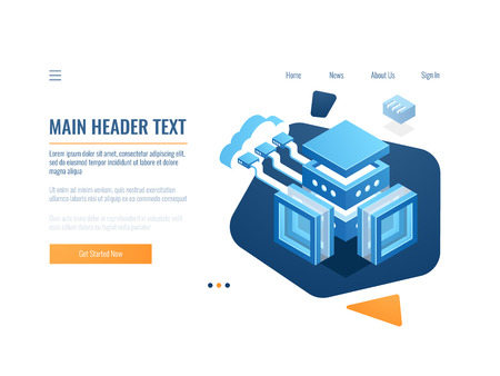 Data cloud storage banner, icon of connection at remote file warehouse, technology object, data science, server room and datacenter isometric vector illustration Vektorové ilustrace