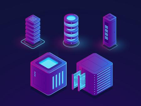Set of technology elements, server room, cloud data storage, future data science progress objects isometric vector illustration, dark ultraviolet neon