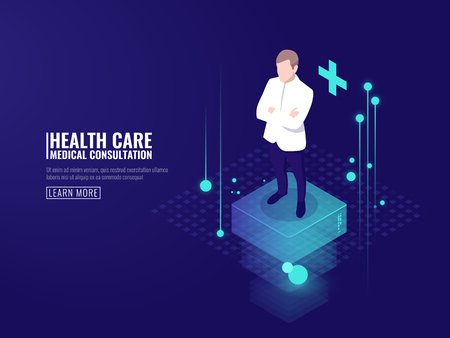 Smart technology in healthcare, doctor stay on platform, online medical consultation isometric vector dark neon Ilustrace