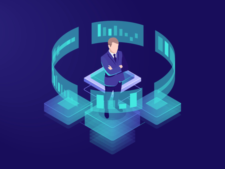 Homme look graphique graphique, concept d'analyse commerciale, icône de traitement de données volumineuses, interface de réalité virtuelle, administrateur d'administration de la salle des serveurs, illustration isométrique vecteur néon sombre