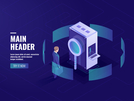 Data research and searching engine optimization seo, man with magnifying glass, server room, datacenter and database icon, bag data processing isometric vector dark neon Ilustração Vetorial