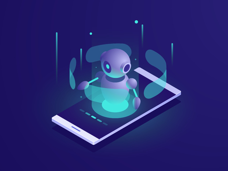 Artificial Intelligence, isometric ai robot on mobile phone screen, chatbot app vector neon