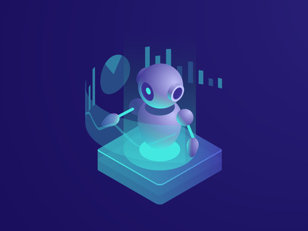 Program analyzing, ai robot, artificial intelligence automated process of data reporting, reading schedule, modern smart technologies in business isometric vector neon dark Illustration