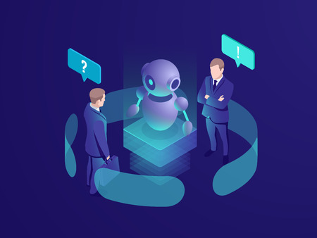 Artificial intelligence ai robot gives recommendation, human get automated response from chatbot, business consulting system, isometric vector neon dark