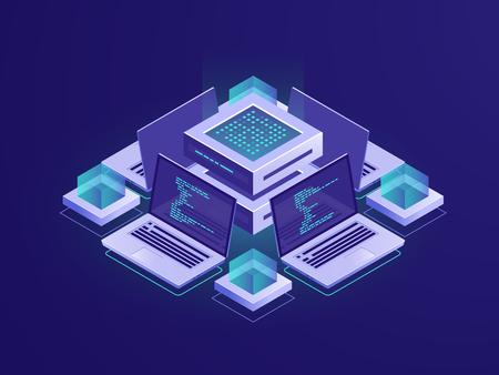 Icona isometrica di intelligenza artificiale, sala server, concetto di data center e database, accesso al repository di codice, vettore di sviluppo di app di programma neon dark