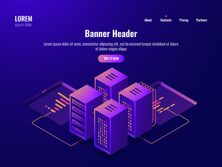Server room isometric icon, big data processing and datacenter concept, database cloud storage, web hosting dark neon vector