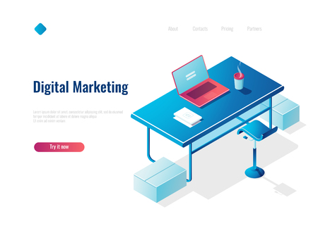 Digital marketing isometric concept employment, office workplace, workspace, table with open laptop, top view 免版税图像 - 127594277