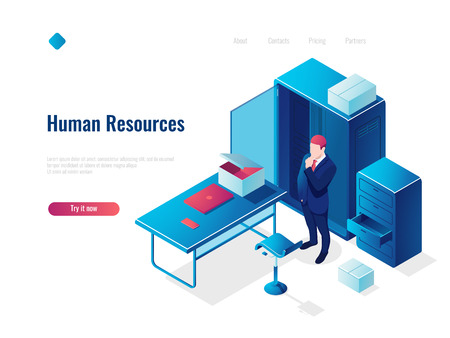 Human resources HR isometric icon concept, employment, office inside interior, table with chair, people thinking, vector