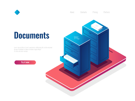 Document management isometric icon, cabinet with documents, online file manager, cloud data storage concept vector, mobile phone