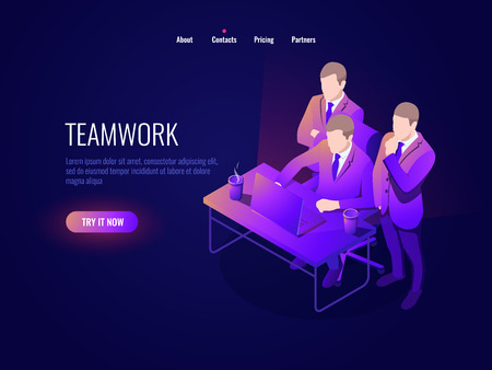 Teamwork icon isometry, collective discussion, project discussion, startup, business management, office workplace, brainstorming dark neon vector Stock Illustratie