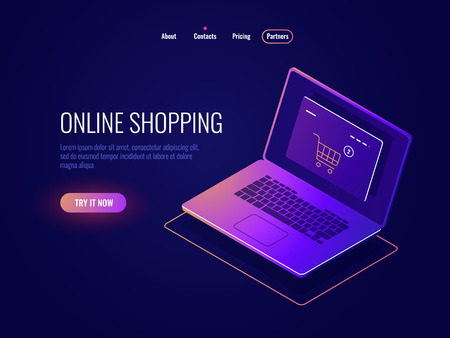 Isometrisches Symbol für Online-Internet-Shopping, Website-Kauf, Laptop mit Online-Shop-Seite, Laptop dunkles Neon