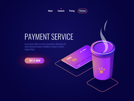 Concept of payment and online banking, credit card, coffee cup, electronic money dark neon vector 矢量图像