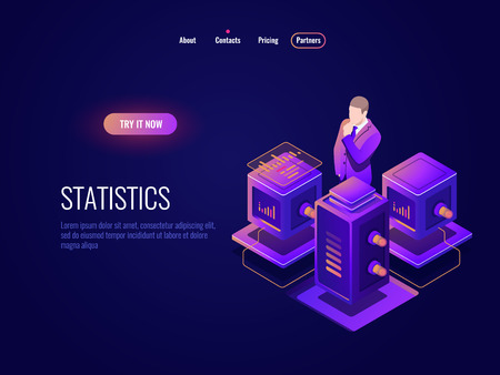 Data science, big data processing isometric icon, data base datacenter concept, programm information analysing, server room dark neon vector