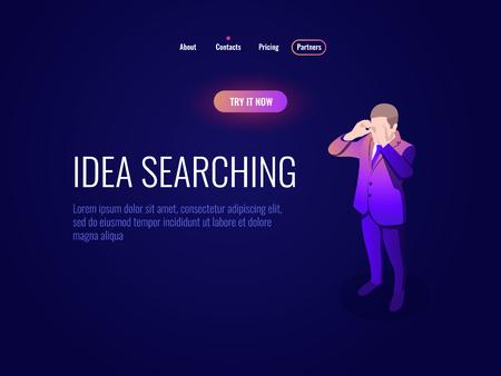 Human resources HR isometric icon manager concept, idea searching, man looks through binoculars dark neon 矢量图像