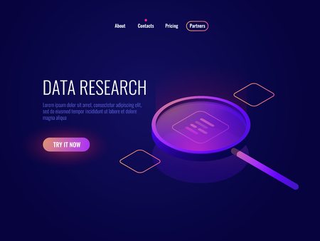 Big data processing isometric icon, magnifying glass, information searching and structuring, data sampling filtration dark neon vector