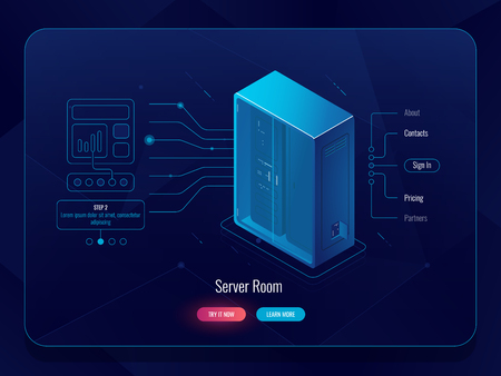 Server room isometric icon, data transferring process, outline background, datacenter and database, future technology, dark neon vector, cloud storage Stock Illustratie