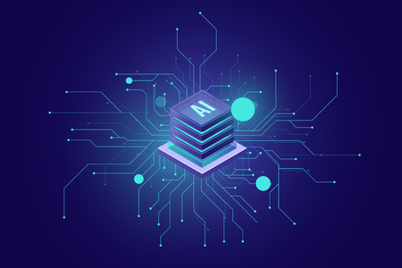 internet connection, artificial intelligence ai isometric icon abstract sense of science and technology, server room, rack graphic design vector 免版税图像 - 127237532