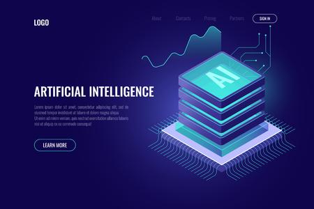 Artificial intelligence, AI isometric icon, computer brain, server room rack, big data, element for design digital technology dark neon