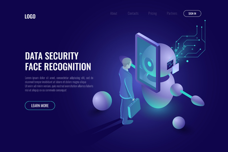 Data security, face recognition system, robot scans human, robotics technology, industry 4.0, authentication dark neon