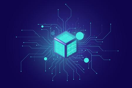 Big Data, AI-Isometrisches Symbol für künstliche Intelligenz, neuronales Netzwerk, Informationsverarbeitung, Cloud-Technologien dunkles Neon