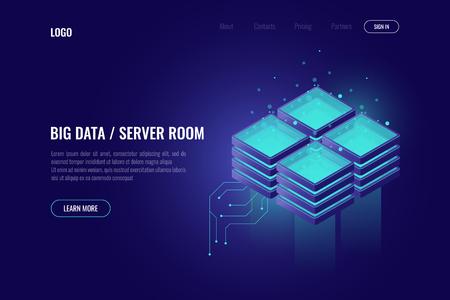 Big data processing, element of digital technology, server room rack, cloud computing isometric icon, data center and database concept dark 免版税图像
