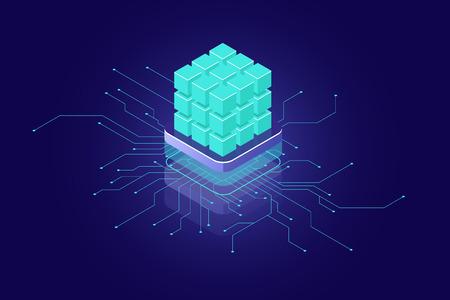 Artificial intelligence concept, ai isometric icon, big data, calculation, supercomputer concept, green blocks, database, data security encryption dark neon 免版税图像