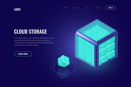 data mining, processing big data isometric concept, tech cub, artificial intelligence ai, server room, database and datacneter