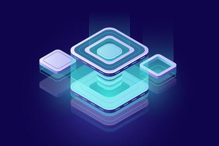 Datacenter concept, blockchain tech isometric icon, digital technology design element, server room, data accumulation, cloud storage concept, dark neon
