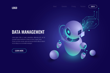 Software analysis of the data, the robot is looking at schedule information, big data processing, cloud computing, artificial intelligence ai isometric concept. dark background