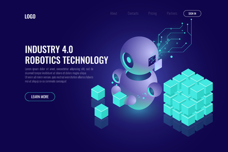 Industry 4.0 concept, big data isometric robotics technology, automating the process with a robot, organize and sort data, 3d vector dark