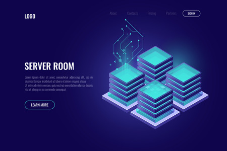 Server room rack isometric icon, banner of digital technology, cloud storage security concept, database and data center icon, dark neon vector