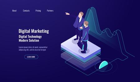 Analytics digital marketing, isometric concept, teamwork, teaching up skill, study worker, dark neon vector Ilustrace