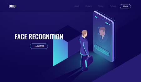 Face recognition, isometric icon, man look into the phone camera, biometric technology, identification, detection of identity, mobile phone dark neon vector