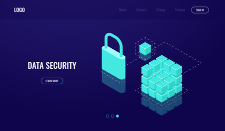 Blockchain technology, data access and data security, isometric icon, protection cloud computing, lock database, dark neon vector