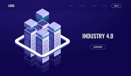 Digital city, isometric urban town, skyscrapers, cloud computing, cloud data storage, server room rack, database concept vector