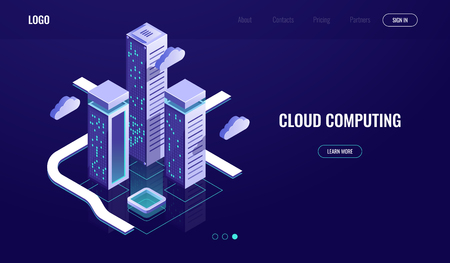 Cloud computing, cloud data storage isometric concept, modern digital urban city, data road, industry 4.0 dark neon