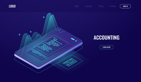 Accounting, money audit, finance management concept, mobile phone with graphic data, analysis and statistic report online application, digital technology, dark neon