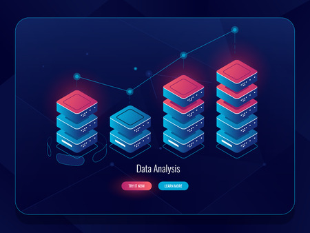 Data visualization isometric cion, information graphic chart, progress bar, arrow up, data analysis and statistic dark neon vector