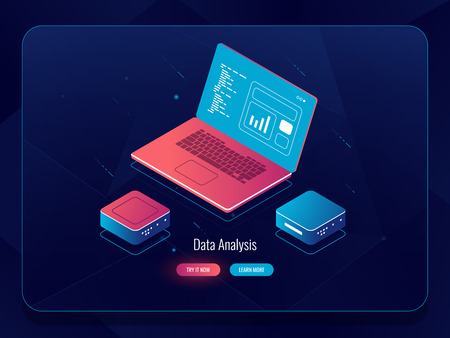 Soft development isometric vector, web design process, laptop with data, programming and code writing, dark neon vector Stock Illustratie