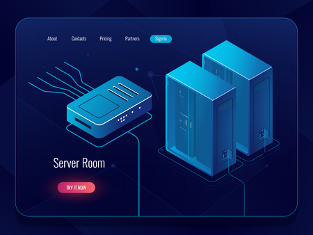 Server room, datacenter and database isometric icon, networking and internet communications, blockchain technology, dark vector neon